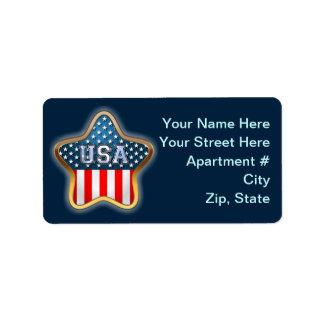 USA Flag Address Label
