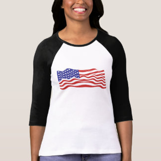 USA Flag Ladies 3/4 Sleeve Raglan (Fitted) T-Shirt