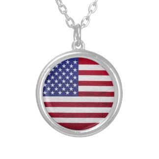USA FLAG LEATHER ROUND PENDANT NECKLACE