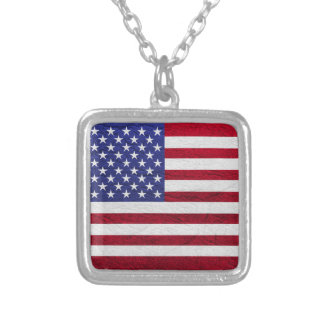 USA FLAG LEATHER SQUARE PENDANT NECKLACE