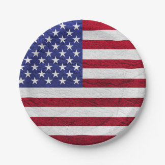 USA FLAG LEATHER PAPER PLATE