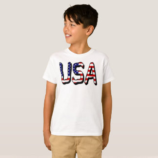 USA Flag Letters Boys Hanes Tagless T-Shirt