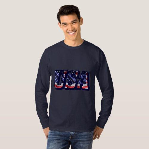 USA Flag Letters Flag Mens Basic Long Sleeve Tee
