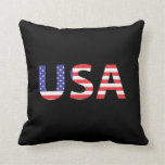 USA Flag Letters Pillow