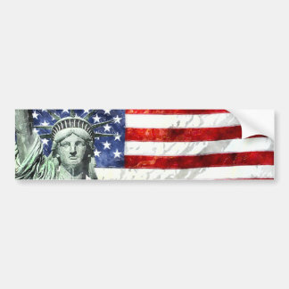 USA FLAG & LIBERTY BUMPER STICKER