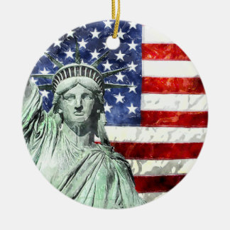 USA FLAG & LIBERTY CERAMIC ORNAMENT