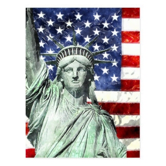 USA FLAG & LIBERTY POSTCARD