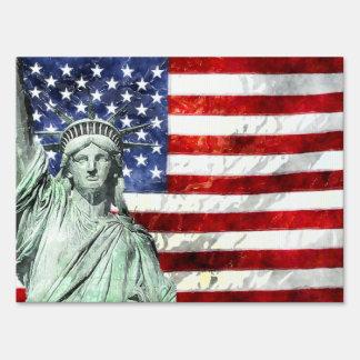 USA FLAG & LIBERTY SIGN