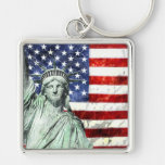 USA FLAG & LIBERTY Silver-Colored SQUARE KEYCHAIN