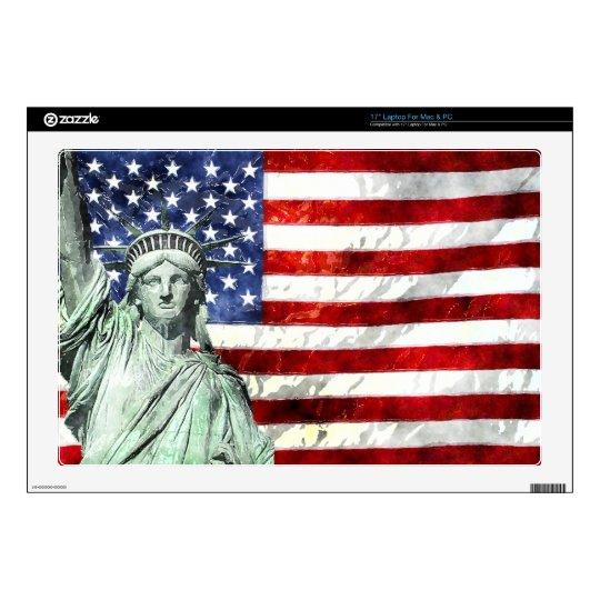 "USA FLAG & LIBERTY SKIN FOR 17"" LAPTOP"
