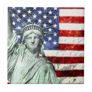 USA FLAG & LIBERTY SMALL SQUARE TILE