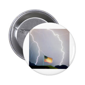 USA Flag Lighting Pinback Button