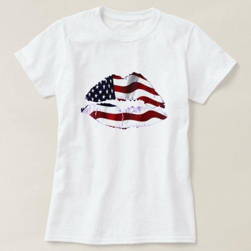 USA Flag Lips T_Shirt