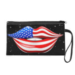 USA Flag Lipstick on Smiling Lips Bagettes Bag Wristlet Purse