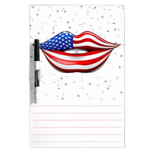 USA Flag Lipstick on Smiling Lips Dry-Erase Board