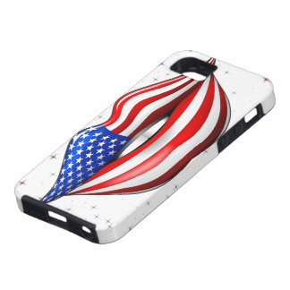 USA Flag Lipstick on Smiling Lips iPhone 5 Case