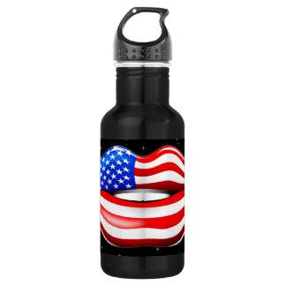 USA Flag Lipstick on Smiling Lips Liberty Bottle