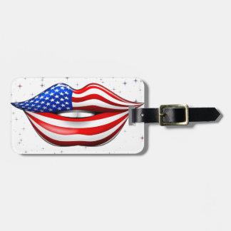USA Flag Lipstick on Smiling Lips Luggage Tags