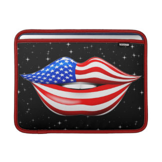 USA Flag Lipstick on Smiling Lips MacBook Sleeves