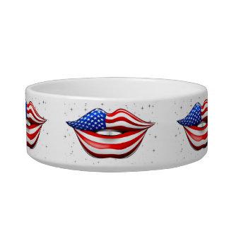 USA Flag Lipstick on Smiling Lips  Pet Bowl