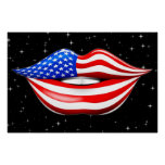 USA Flag Lipstick on Smiling Lips Poster
