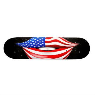 USA Flag Lipstick on Smiling Lips Skateboard