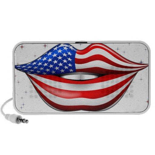 USA Flag Lipstick on Smiling Lips speaker