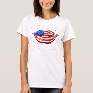 USA Flag Lipstick on Smiling Lips T-Shirt