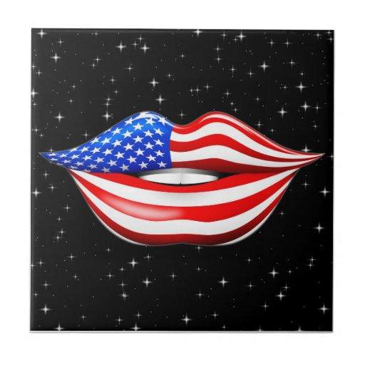USA Flag Lipstick on Smiling Lips tile