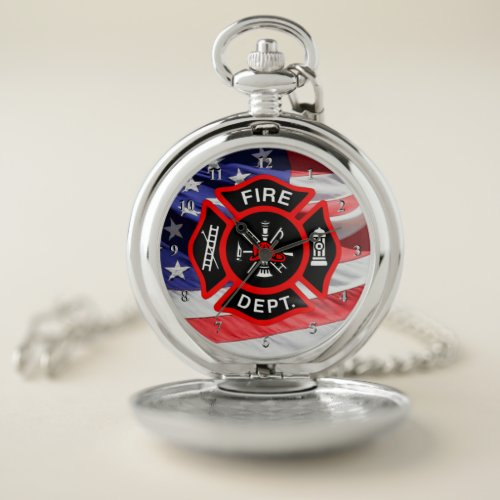 USA Flag Maltese Cross Gift for Firefighters Pocket Watch
