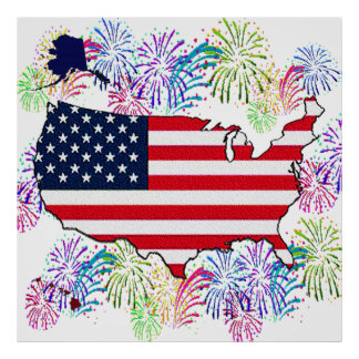USA Flag Map and Fireworks with Texture Print