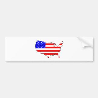USA Flag Map Bumper Sticker