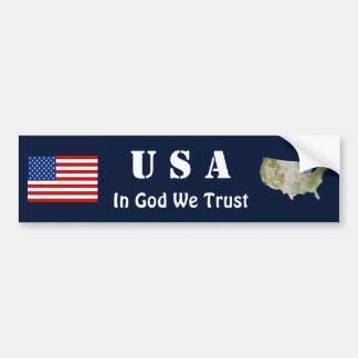 USA Flag + Map Bumper Sticker