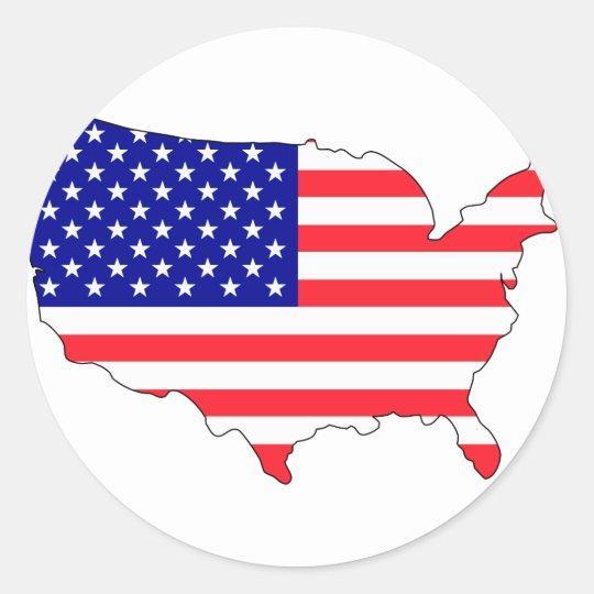 Usa flag map classic round sticker