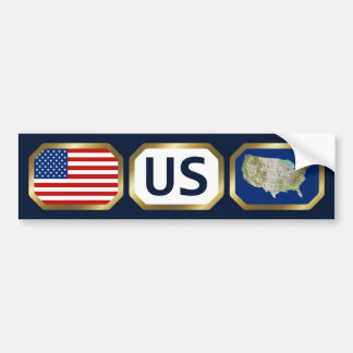 USA Flag Map Code Bumper Sticker