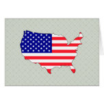 Usa Flag Map full size Greeting Cards