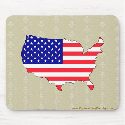 Usa Flag Map full size Mouse Pads