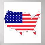 Usa Flag Map full size Poster