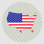 Usa Flag Map full size Round Stickers