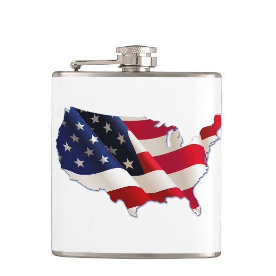 USA Flag, Map of America, 4th of July Flask