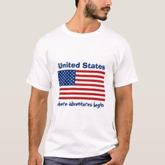 USA Flag + Map + Text T-Shirt