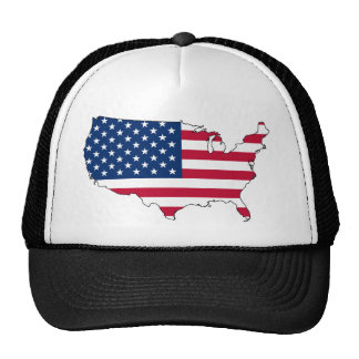 usa flag map trucker hat