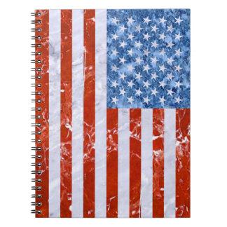 USA FLAG MARBLE SPIRAL NOTEBOOK