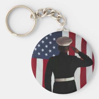 USA FLAG & MARINE WARRIOR BASIC ROUND BUTTON KEYCHAIN