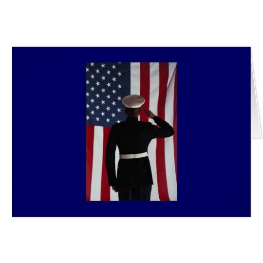 USA FLAG & MARINE WARRIOR CARD