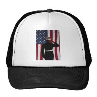 USA FLAG & MARINE WARRIOR TRUCKER HAT