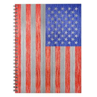 USA FLAG METAL 1 SPIRAL NOTEBOOK