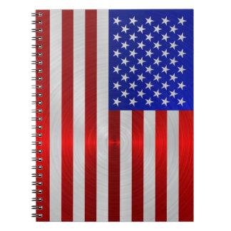 USA FLAG METAL 2 SPIRAL NOTEBOOK