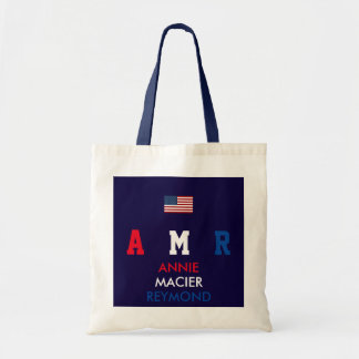 USA flag monogram personalized initials/name Tote Bag