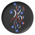 USA Flag Musical Notes Plate